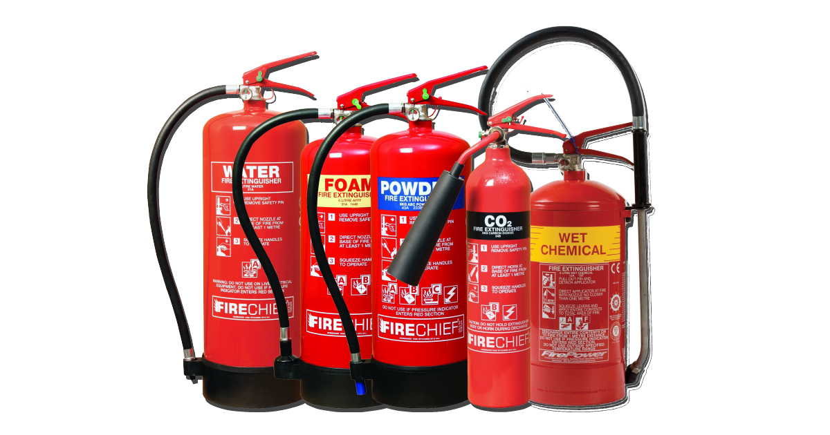different colour fire extinguishers