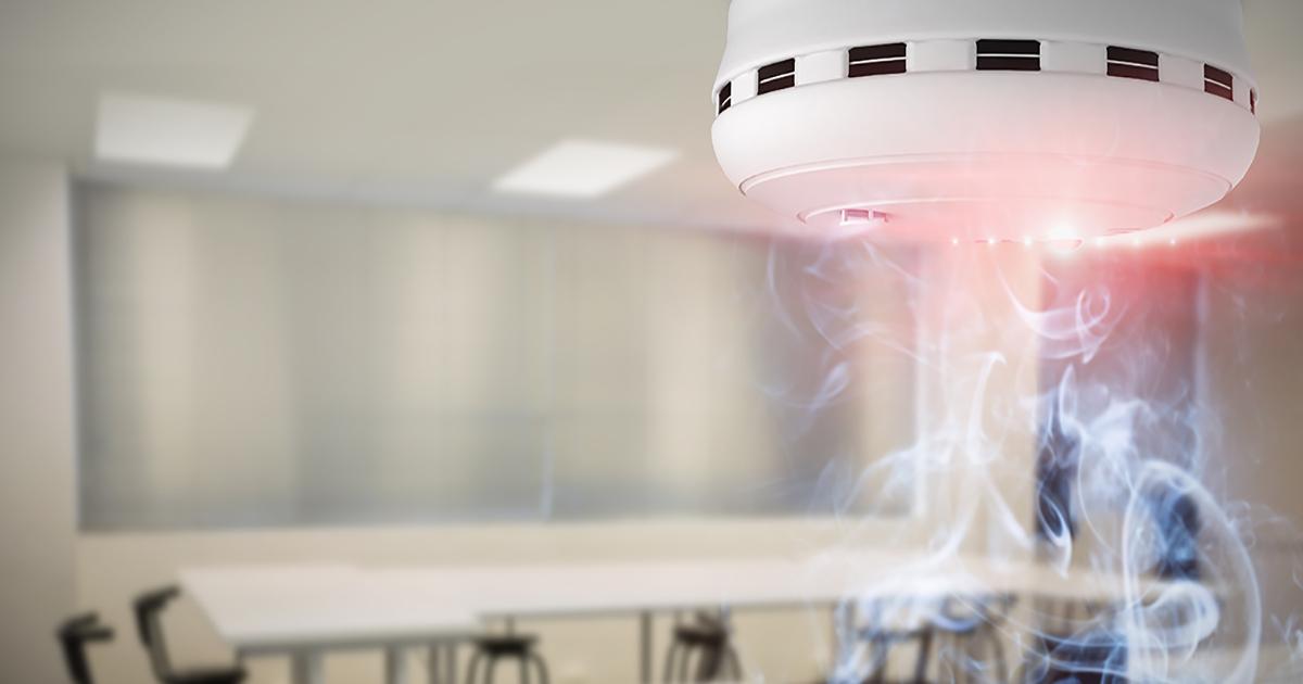 Fire alarm detecting smoke in school